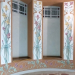Leene di bow-window con decorazione Liberty floreale