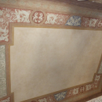 Restauro di soffitto dipinto  con ricostruzione mimetica di grande lacuna